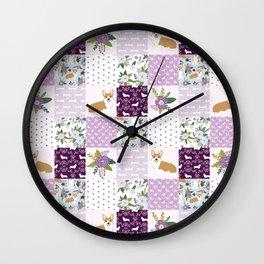 Corgi Patchwork Print - purple ,florals , floral, spring, girls feminine corgi dog Wall Clock