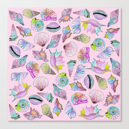 Summer Seashells in Girly Painted Watercolor Paint Canvas Print