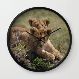 Two lion Clubs At Play Wall Clock