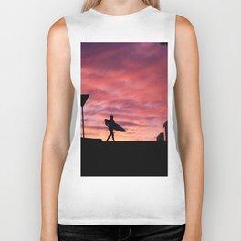 Surfer at Sunset Biker Tank