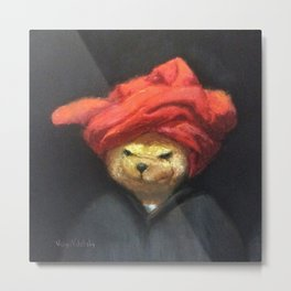 Portrait of Bear in Red Turban Funny Vintage Painting Metal Print
