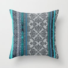 Teal, Aqua & Grey Vintage Bohemian Wallpaper Stripes Throw Pillow