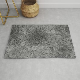 Black and White Floral Line Drawing Rug