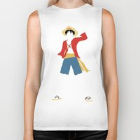 luffy Biker Tanks featuring Monkey D Luffy by JHTY