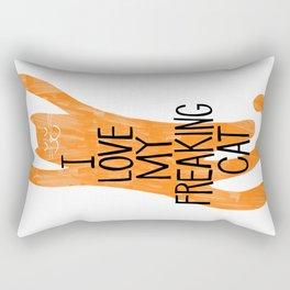 I love my freaking cat - orange Rectangular Pillow