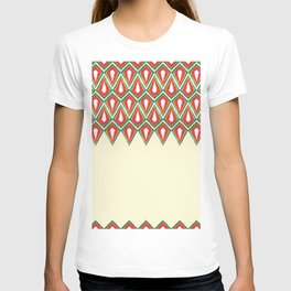 Light Yellow Red & Green Diamond Kite Geometric Border T-shirt