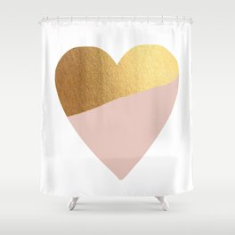 Heart of Gold (and Millennial Pink) Shower Curtain