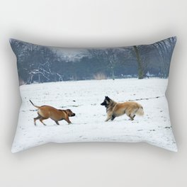 Lets play - Dogs in the snow Rectangular Pillow