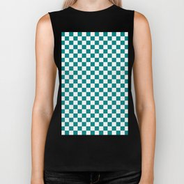 White and Teal Green Checkerboard Biker Tank