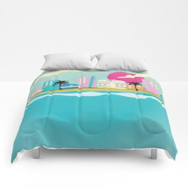 Retro 1980s Miami cartoon seafront Comforters