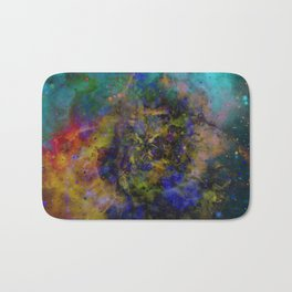 Evolving Space - Abstract, outer space painting Bath Mat