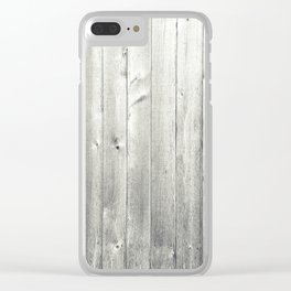 Black & White Wood Texture Clear iPhone Case
