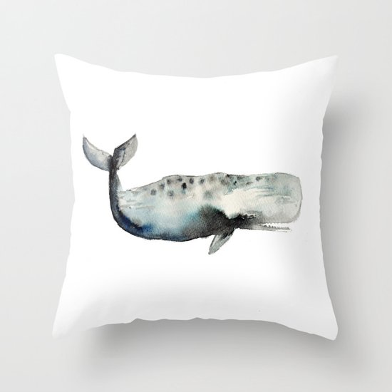 whale- watercolor Throw Pillow