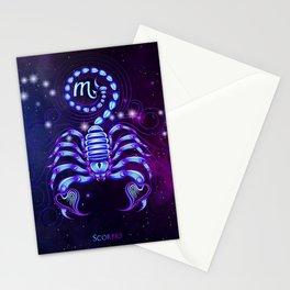 Zodiac neon signs — Scorpio Stationery Cards
