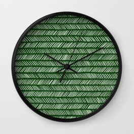 Forest Green Small Herringbone 1 Wall Clock