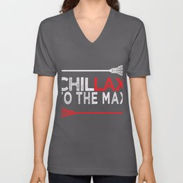 Awesome LAX Lacrosse Gift   Chillax to the MAX Dude Unisex V-Neck
