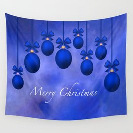 Merry Christmas Ornaments Bows and Ribbons – Blue Wall Tapestry