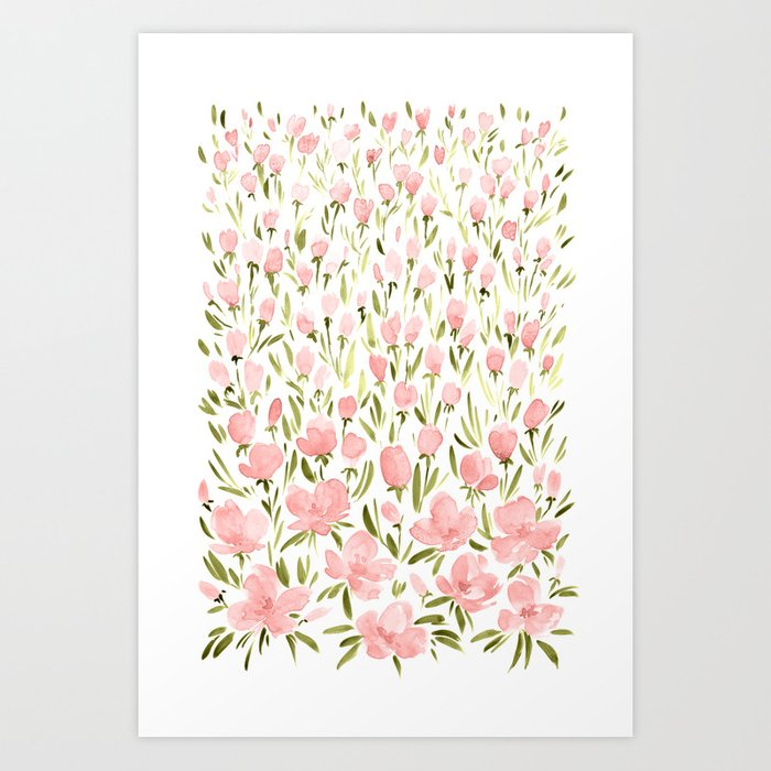 Field of pink flowers Art Print