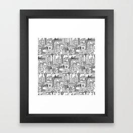 Seattle black white Framed Art Print