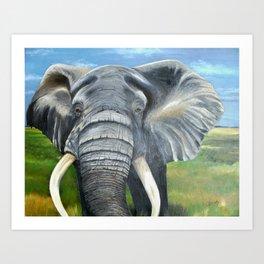 Elephant, Male Elephant Painting Art Print