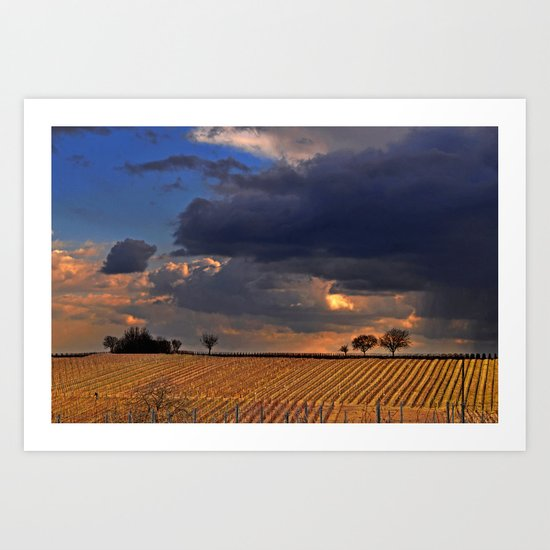 Dark clouds and vine Art Print