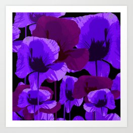 Purple And Violet Poppies On A Dark Background - Strong Vibrant Color Palette - Retro Mood Art Print