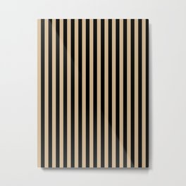 Tan Brown and Black Vertical Stripes Metal Print