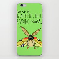leslie knope iPhone & iPod Skins featuring Leslie Knope Compliments: Rule-Breaking Moth by Shebanimal