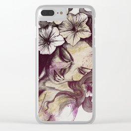 In The Year Of Our Lord: Wine (smiling lady with petunias) Clear iPhone Case