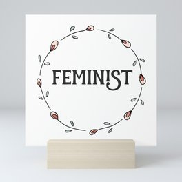 Feminist Typography Art with Pink Floral Design Mini Art Print