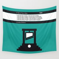 cities Wall Tapestries featuring No009 MY Tale of Two Cities Book Icon poster by Chungkong