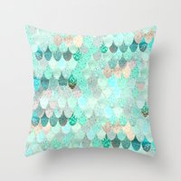 Throw Pillows featuring SUMMER MERMAID by Monika Strigel®
