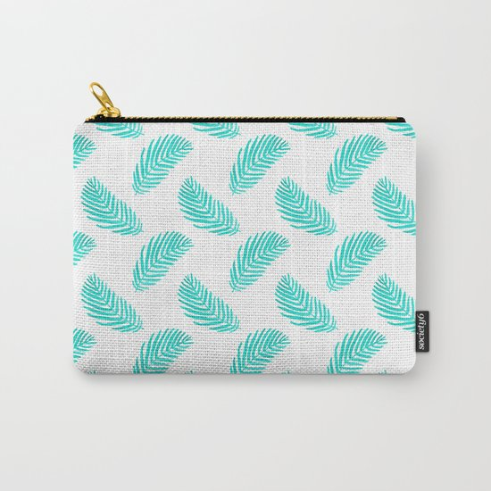 Palm Frond tropical summer watercolor painting leaf pattern house plants palm nature illustration Carry-All Pouch