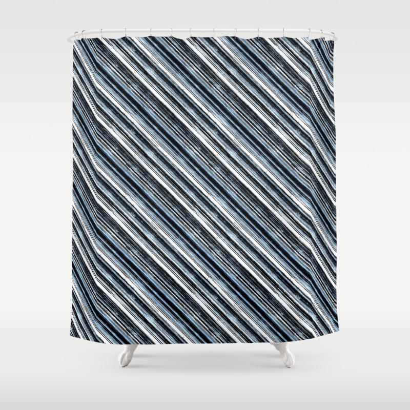 Blue Black White Diagonal Stripes Shower Curtain