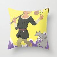 tarot Throw Pillows featuring Tarot Card by eileenoberlin