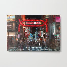 Shinjuku Night Walks Metal Print