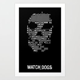 Watchdogs Digital Skull Art Print