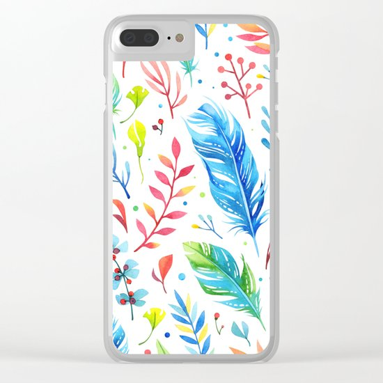 Feathers Pattern 01 Clear iPhone Case