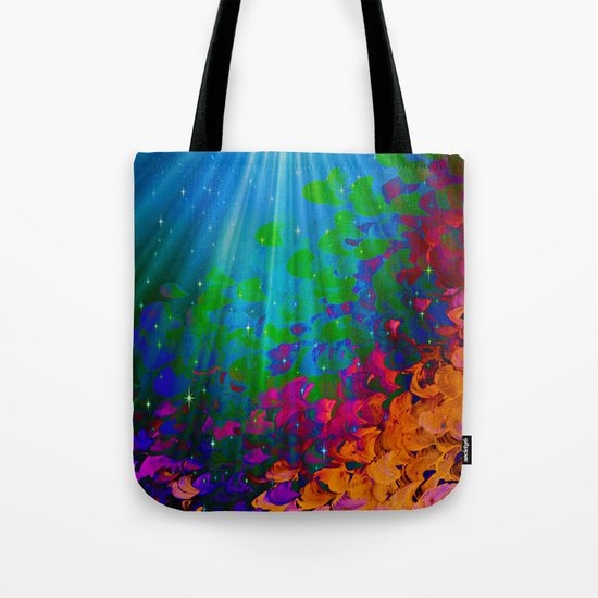 UNDER THE SEA Bold Colorful Abstract Acrylic Painting Mermaid Ocean Waves Splash Water Rainbow Ombre Tote Bag