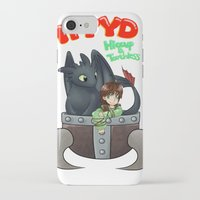 hiccup iPhone & iPod Cases featuring Hiccup and Toothless in a Helmet by snowrunt