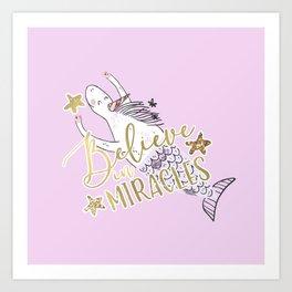 Unicorn Mermaid Believe in Miracles Art Print