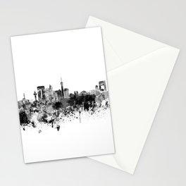 Jeddah skyline in black watercolor Stationery Cards