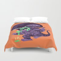 xenomorph Duvet Covers featuring Cute Xenomorph by nocturnallygeekyme