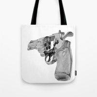 gun Tote Bags featuring gun by VoicesRantOn
