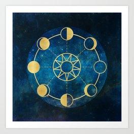 Gold Moon Phases Sun Stars Night Sky Navy Blue Art Print