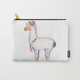 Cute Lama With Floral Accents Carry-All Pouch