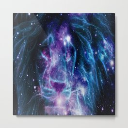 Leo Galaxy Lion : Purple Blue Metal Print