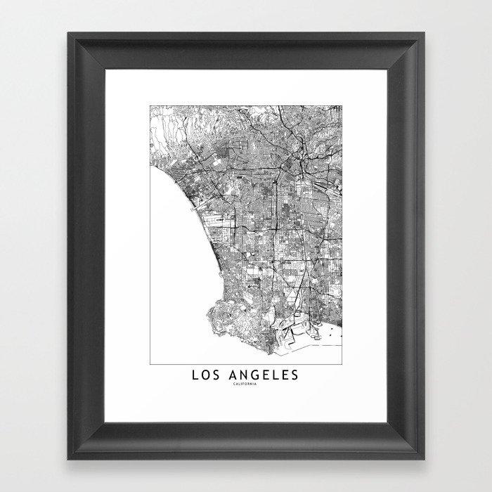 Los Angeles White Map Gerahmter Kunstdruck