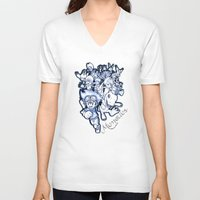 digimon V-neck T-shirts featuring Digimon Memories by Cursed Rose