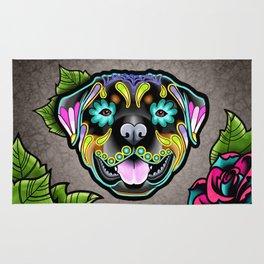Rottweiler - Day of the Dead Sugar Skull Dog Rug